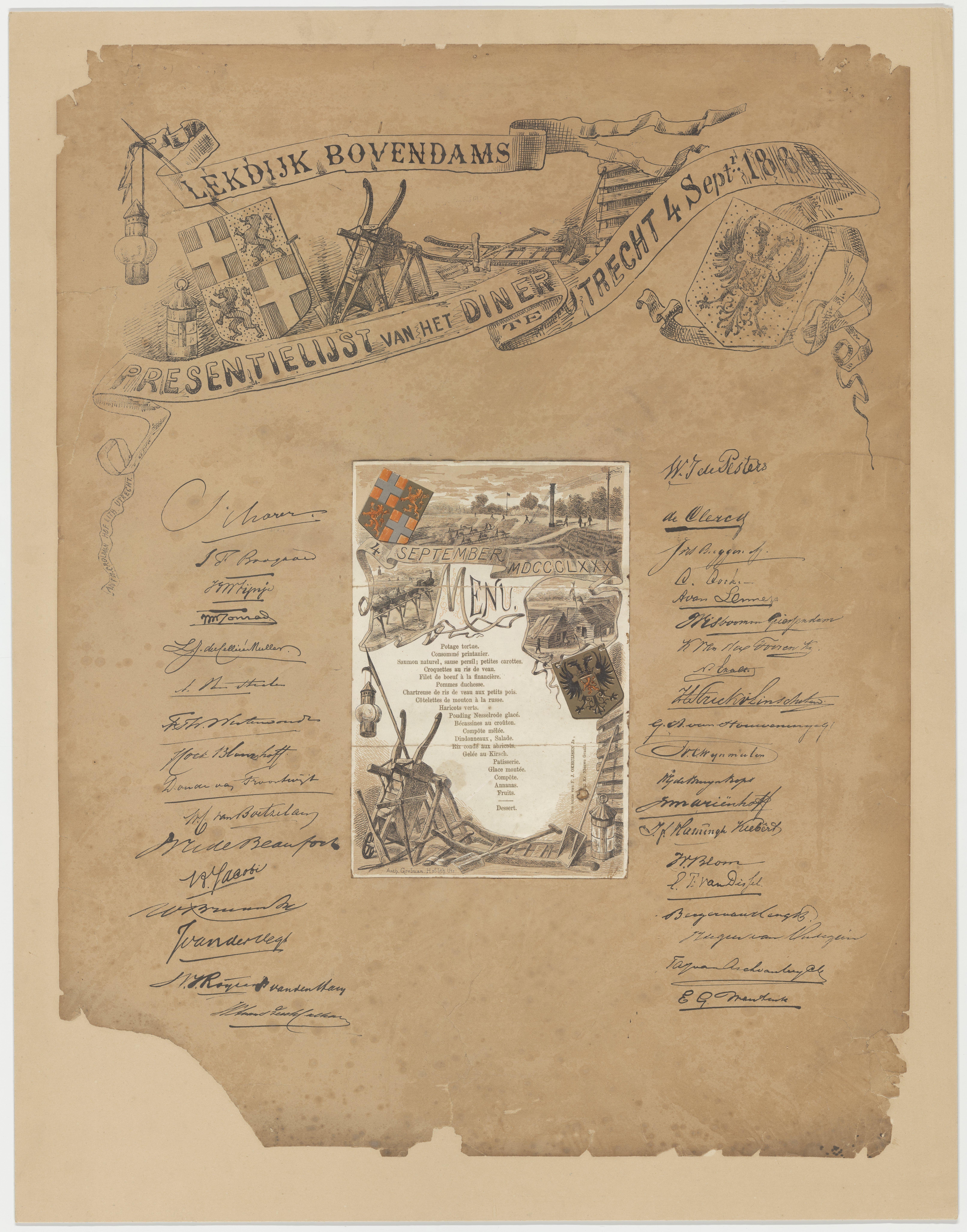 a1175 menukaart 1880 lekdijk bovendams