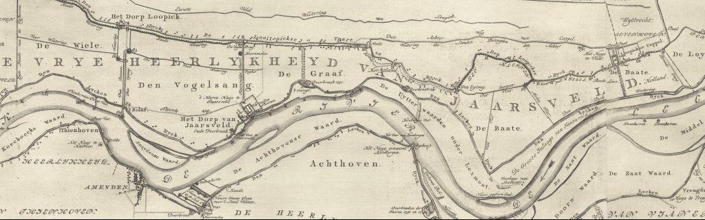 Batuwe (rechts) op de kaart van de Lopikerwaard van Hattinga uit 1771.