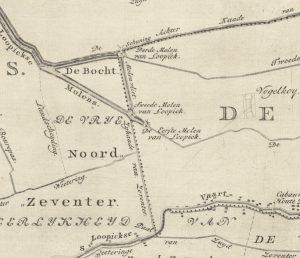 Fragment van de kaart van de Lopikerwaard door Hattinga uit 1771, waarop de drie molens van de polder Lopik, Lopikerkapel en Zevenhoven staan ingetekend.