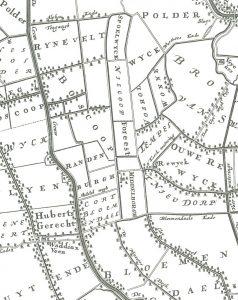 Het schoutambacht Middelburg, verdeeld in de vier blokken Spoelwijk, Nieuwkoop, Foreest en Middelburg, circa 1750.