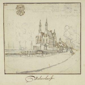 Het huis Wulvenhorst rond 1665, toen Johan Webster er eigenaar van was.