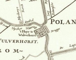 Wulvenhorst, zoals getekend op de kaart van het Groot-Waterschap van 1670 door de gebroeders Vingboons.