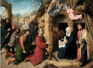 Aanbidding der Wijzen, schilderij van Gerard David uit circa 1500 in de Alte Pinakothek (Munchen)..