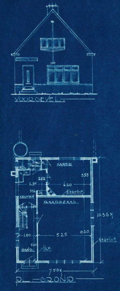 Fragment van de bouwtekening van het pand Barwoutswaarder 92 met de voorgevel en de plattegrond, 1937.