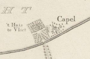 Lopikerkapel afgebeeld op een achttiende-eeuwse kaart, met speciale aandacht voor de twee meest iconische gebouwen: de kerk en het Huis te Vliet (fotonummer: A0332_F).