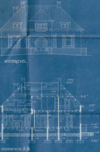 Detail van de bouwtekening van het gemeentehuis. Bron: archief O019, inventarisnummer 380.