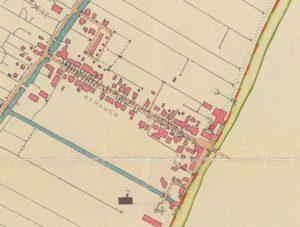 Detail van een grenskaart van de polder Lange Weide, 1955-1957 (fotonummer A1350).